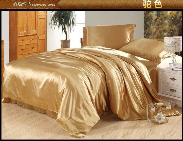 Camel tan juego de ropa de cama de seda sábanas de satén reina edredón completo funda nórdica súper cama tamaño king extender colchas de lino doble doona