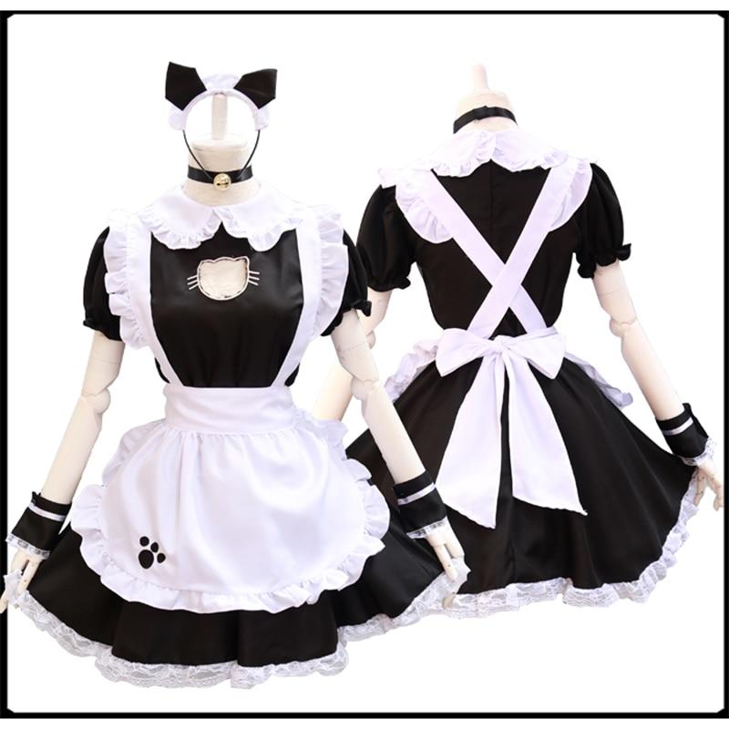 أسود لطيف القط لوليتا فستان خادمة ازياء تأثيري دعوى للفتيات امرأة نادلة خادمة حفلة المرحلة ازياء