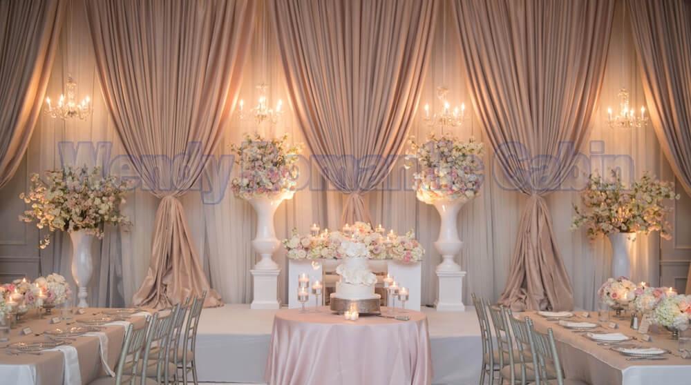 Fondo de boda blanco con bastoncillos de café 10ft x 20ft Fondo cortina de escenario al por mayor decoración de boda