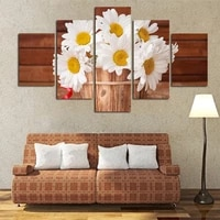unframed painting 5 piecesset daisy rose various flowers modern modular picture plant vase canvas wall art home decor