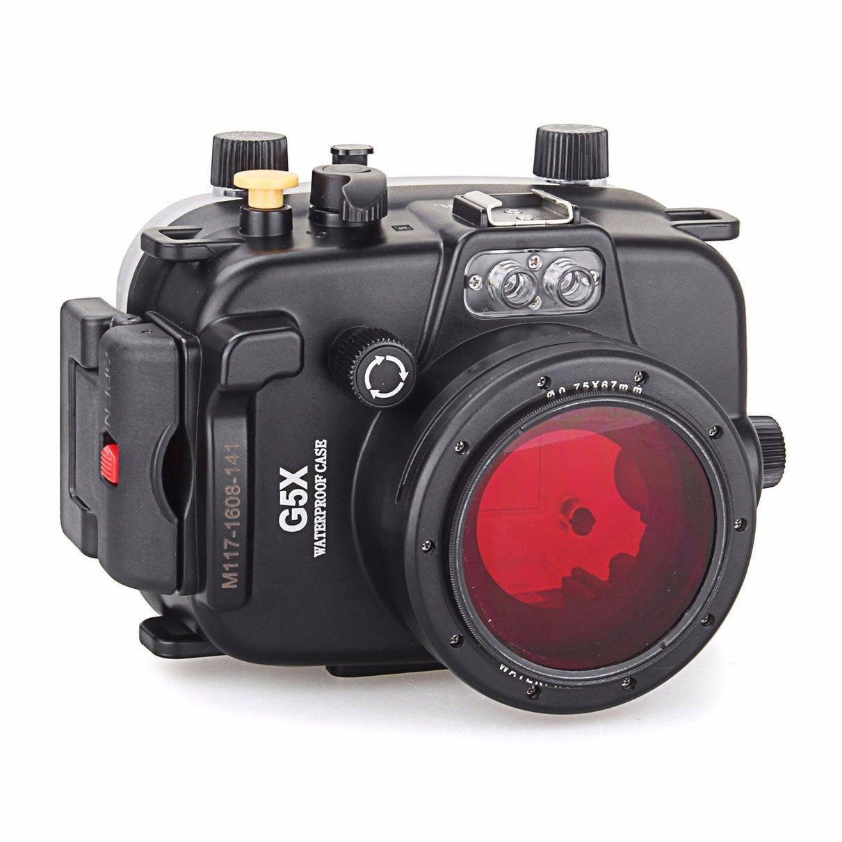 Meikon 40 m Caso Caixa Da Câmera Subaquática À Prova D Água para Canon G5X + 67mm Filtro Vermelho