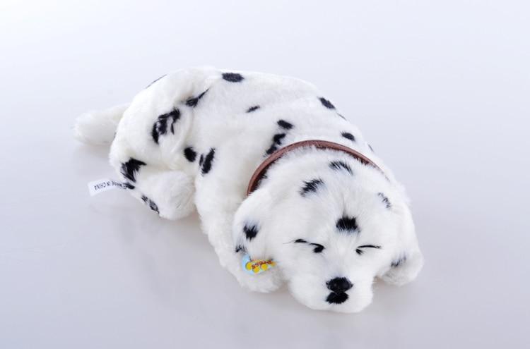 about 30 cm Electric breathing dog,prone sleeping Dalmatian dog funny toy birthday gift a1943