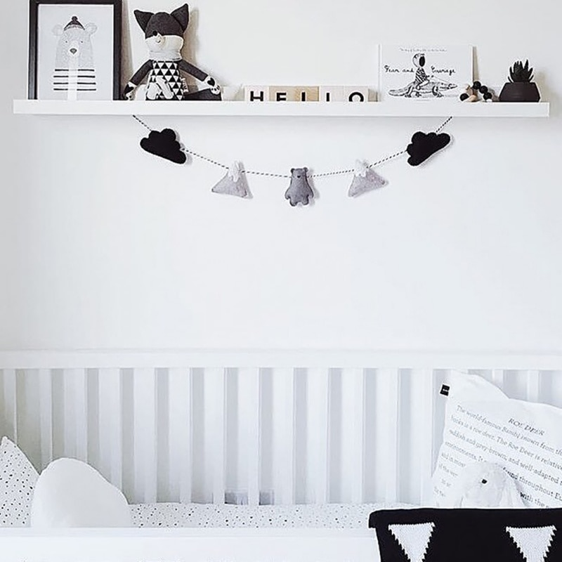 Habitación de bebé adorno colgante para dormitorio infantil decoración de la pared fieltro nube Garland Banner fiesta regalos de navidad ducha empavesado de Navidad