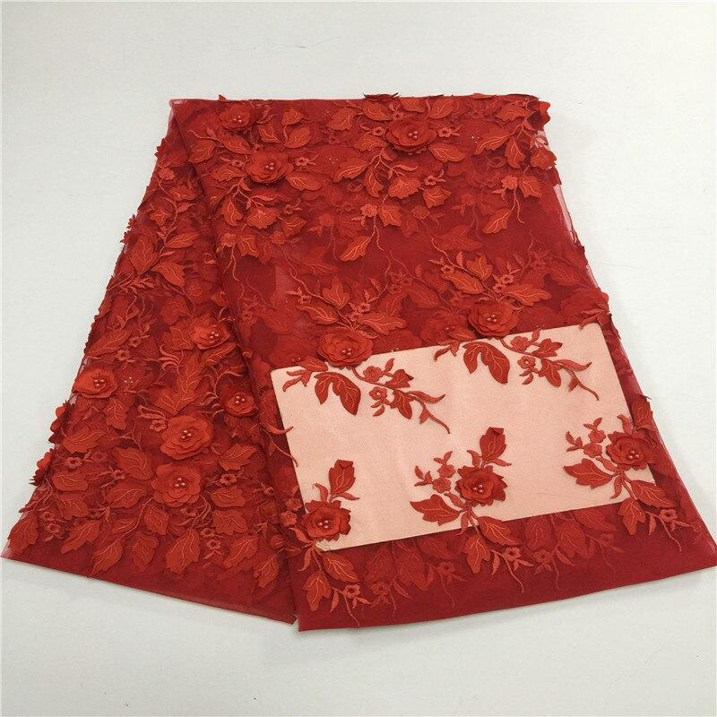 Red cor New 3d flor applique lace net francês com contas nigeriano tecidos rendas para o casamento de luxo 2017 5 quintal/lot