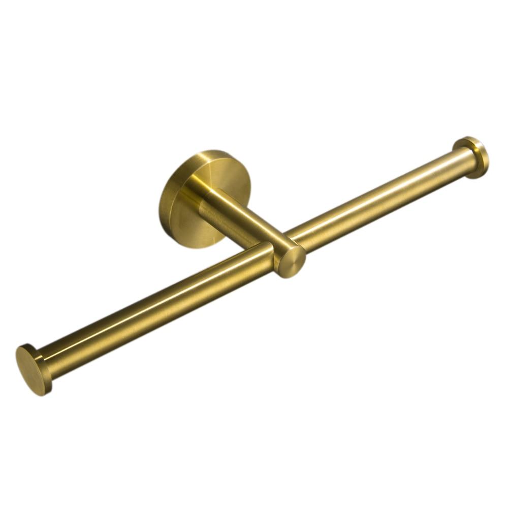 Leyden-حامل ورق التواليت مع لفافات مزدوجة من الفولاذ المقاوم للصدأ ، لمسة نهائية ذهبية مصقولة ، حامل حائط للحمام ، 2 علاقة مناديل