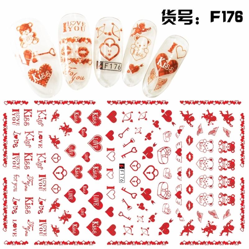 Súper fino Auto adhesivo 3D NAIL ART pegatina deslizante fuegos artificiales dulce corazón mariposa pluma Palma Concha F175-184