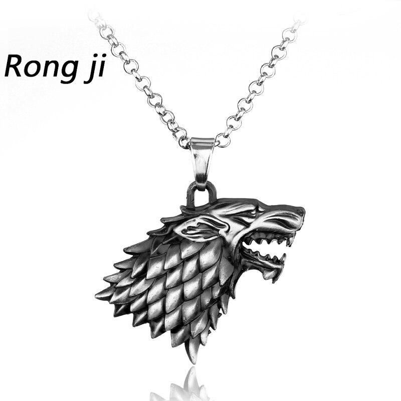 Game of Thrones Stark Family Goshawk Head Badge Wolf Chain Necklace Pendant Men Women Jewelry