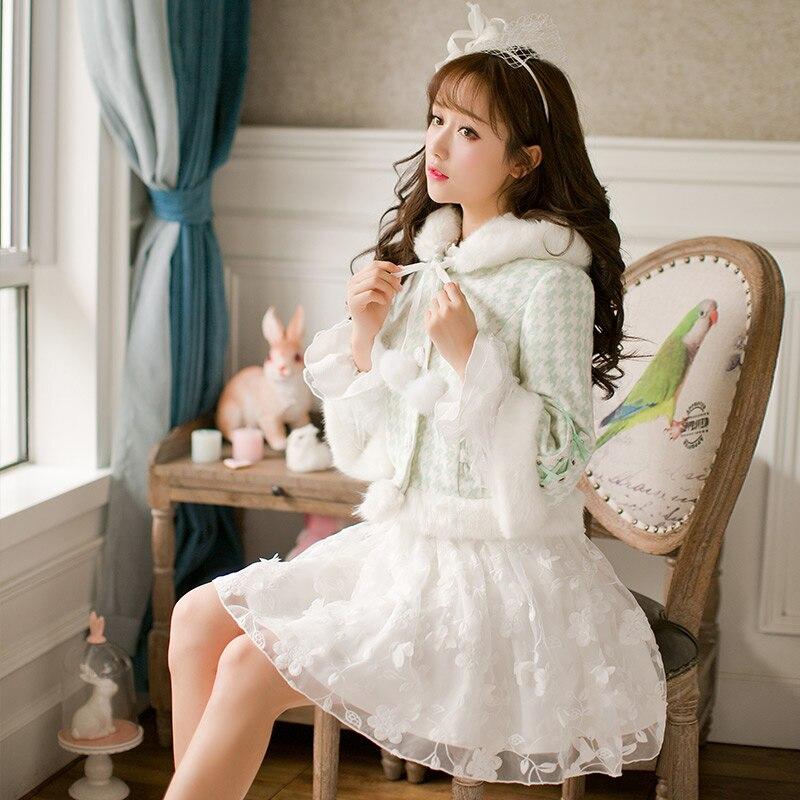 Princesa dulce lolita verde chaqueta de rejilla Candy rain Plush hat fur ball jacket Slim manga larga diseño japonés C16CD6163