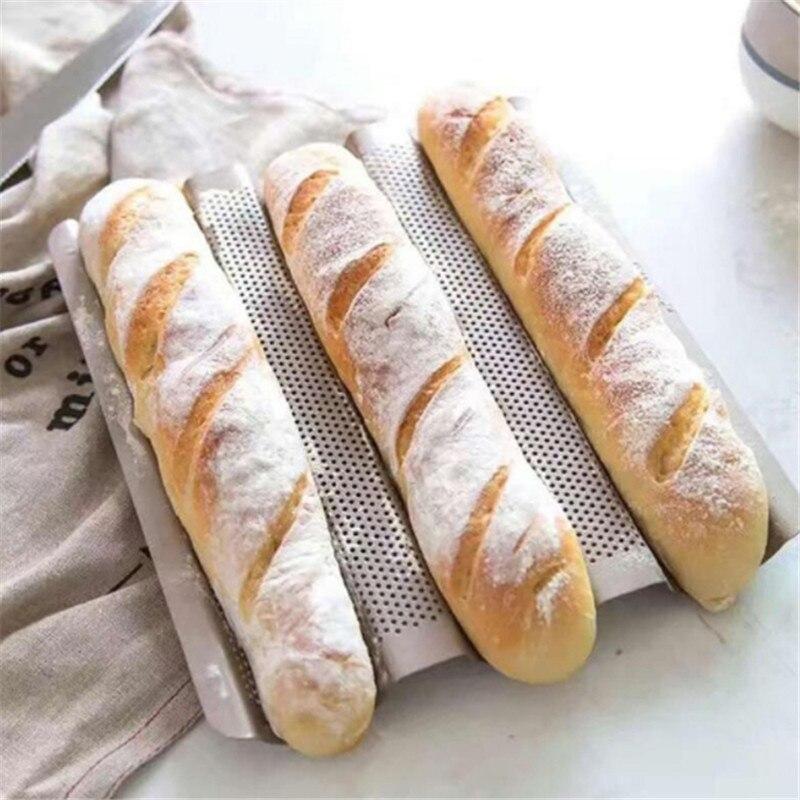 Quente 3-slot não-vara baguette bandeja de cozimento pão molde francês pão pan cor de ouro baguette quadro rack utensílios de cozinha assar ferramentas novo