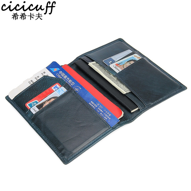 CICICUFF blindaje RFID titular de la tarjeta de crédito de cuero genuino en la cubierta para el pasaporte certificado de viaje Ticket Clip caso cartera bolsa