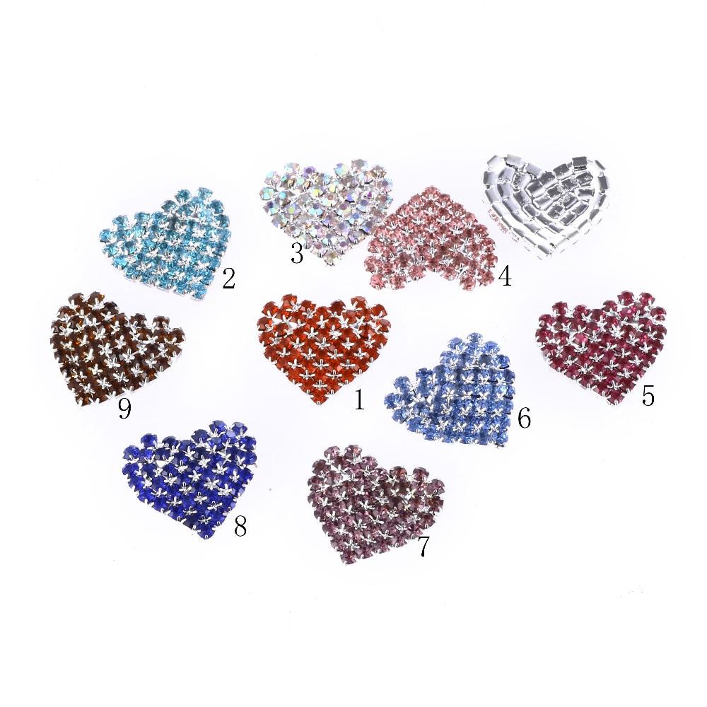 10pcs 23 * 25mm variety of heart-shaped Rhinestone button,Wedding ornaments DIY buckles Diamante cryustal.
