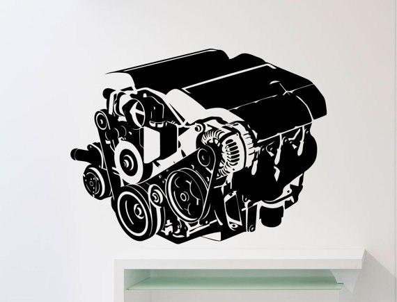 Repair Service Car Workshop Creative Wall Mural Garage Car Engine Vinyl Wall Sticker Home Room Decor Free Shipping Mural