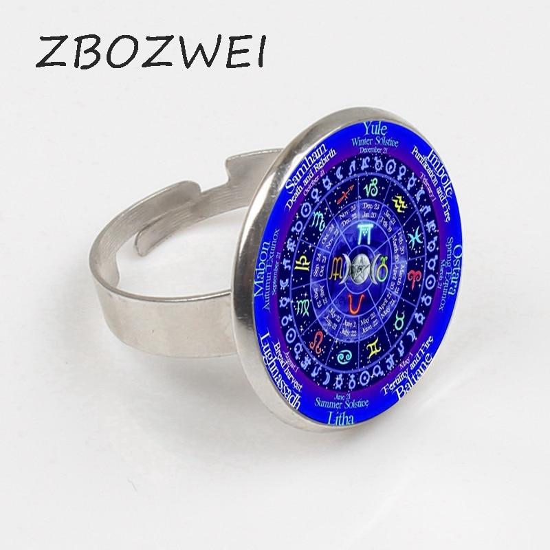 ZBOZWEI 2018 1 pièce zodiaque Wicca Logo anneau pentagramme Wiccan Vintage anneau de déclaration bague hommes bijoux femmes cadeau