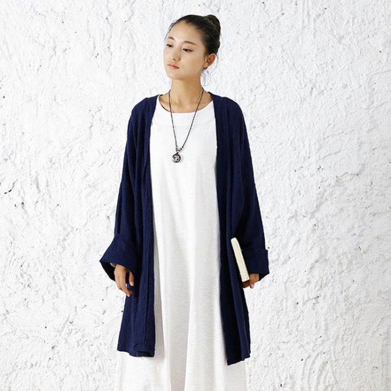 2020 Spring Original Artistic Loose Long Sleeve Plus Size Women Shirts Cotton Linen Long Blusas Kimono Blouse Prevent Bask Tops