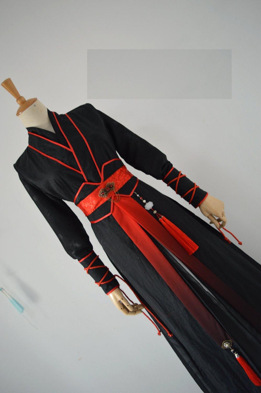 Jin Ye Xing Cosplay Costume Hanfu Original Black Red Sword Men Sword Lady Unisexual Martial Arts KungFu Costume
