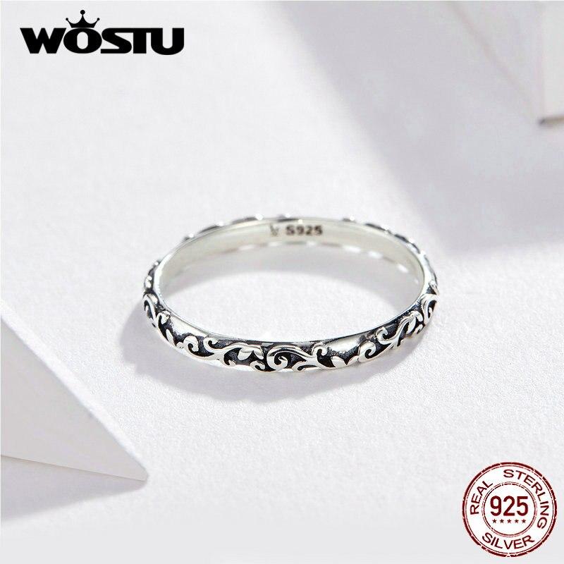 Anillo de flor estilo coreano WOSTU, anillo delicado de Plata de Ley 925 para mujer, joyería minimalista de moda para boda FIR513