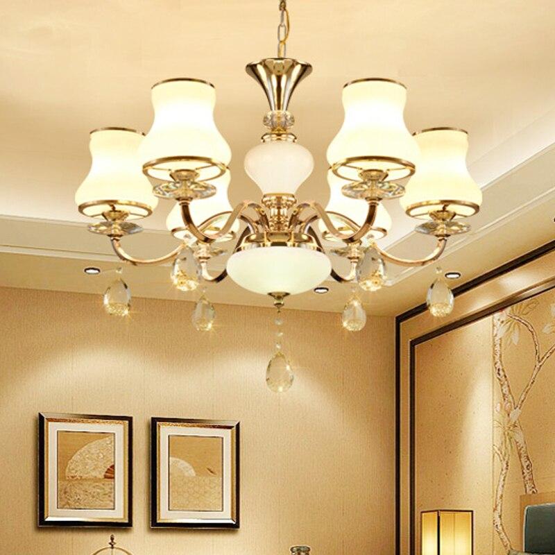 Candelabros modernos LED de cristal dorado, candelabros de cristal para sala de...