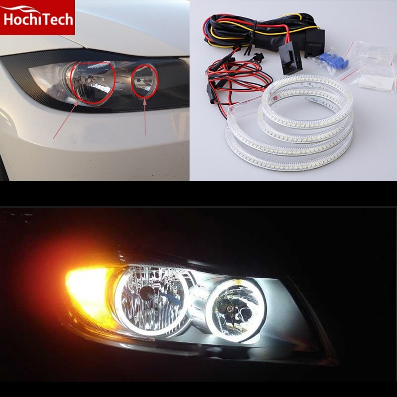 HochiTech SMD white LED angel eyes 2000LM 12V halo ring kit day light DRL for for BMW 3 Series E90 2005-2008 Halogen headlight