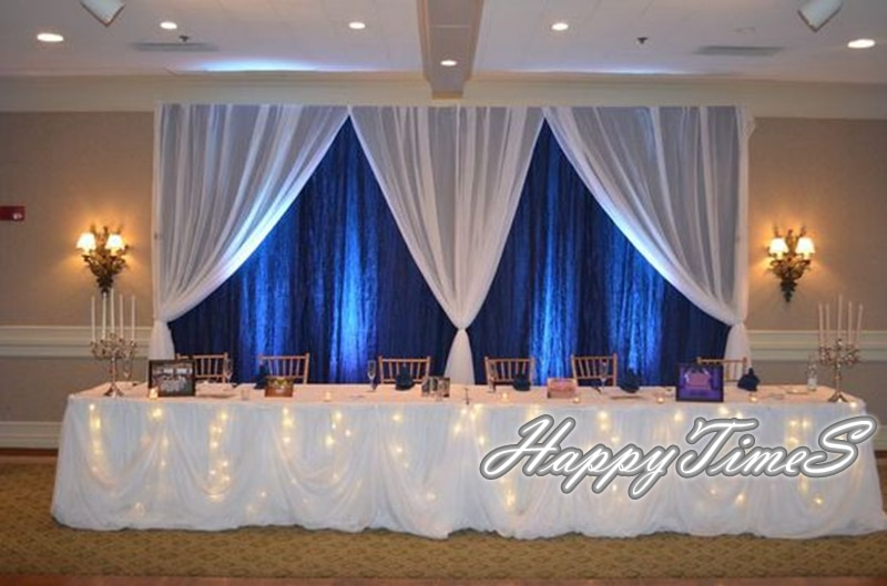 Telón de fondo azul real de 10 pies de alto y 20 pies de ancho con cortinas blancas decoraciones de fondo para boda