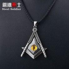 Staal soldaat gratis Mason hanger ketting geel eye rvs punk illuminati mannen biker chain Gothic sieraden