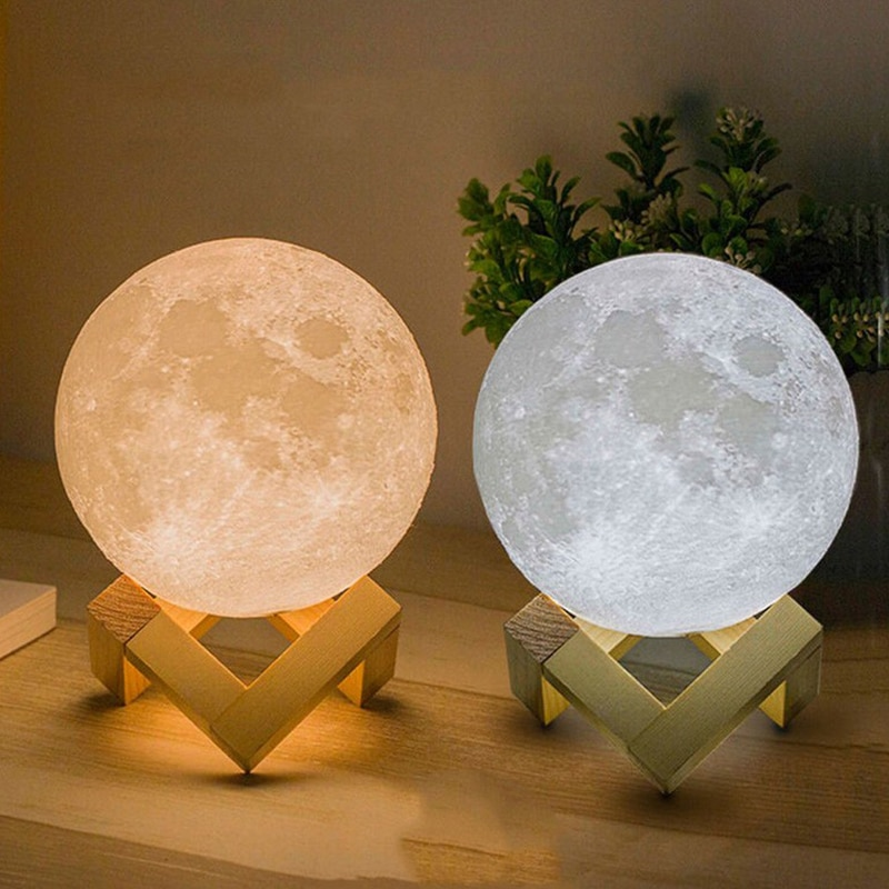 3D Print Rechargeable Moon Lamp LED Night Light Rechargeable Creative Touch Switch Light For Bedroom