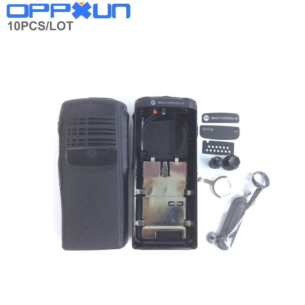 Oppxun 10 conjunto habitação caso escudo capa preta superfície protetora contra botão de poeira para motorola gp328 gp340 pro5150 rádio