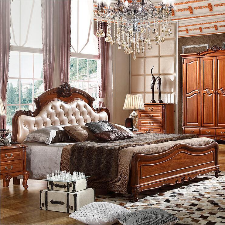 سرير خشبي أمريكي 2 شخص سرير مزدوج أوروبي كلاسيكي أمريكي على الطراز الريفي 1.8 م 10309