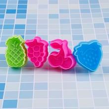 Moule à biscuits en plastique série de fruits   Ustensiles de cuisson à fraises, raisin cerise ananas, formes de coupeurs à biscuits en plastique, moule à biscuits Fondant 4 pièces/lot