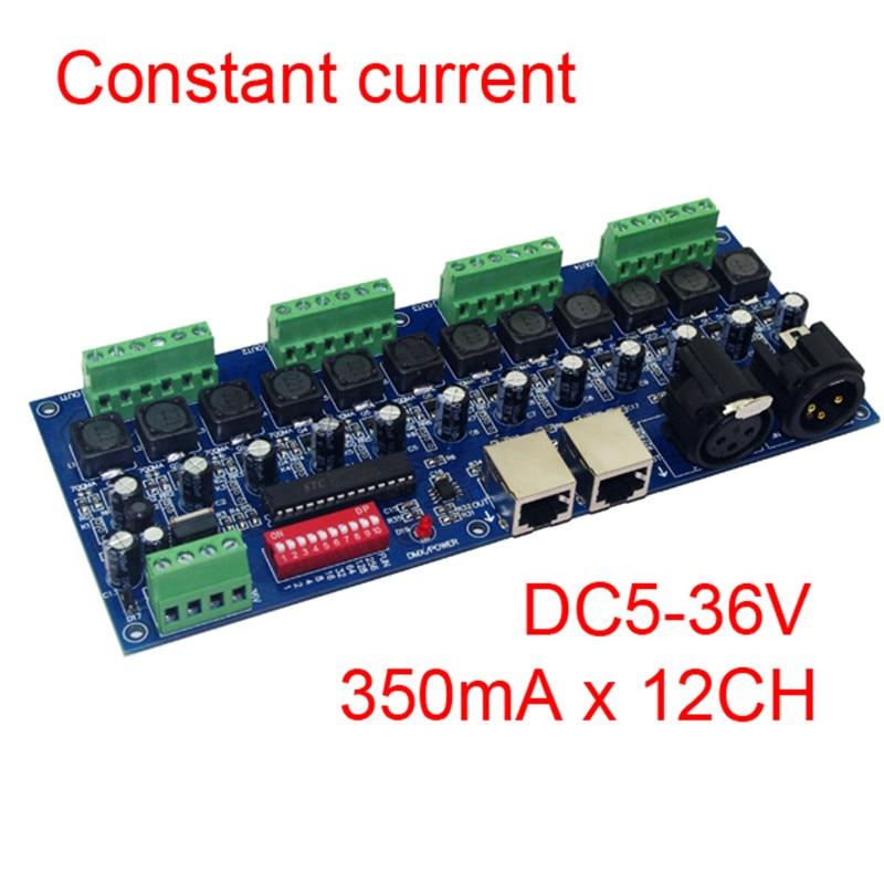 350ma corrente constante 12 canais dmx 512 dimmer led dmx512 decodificador & rj45 xrl 3 p