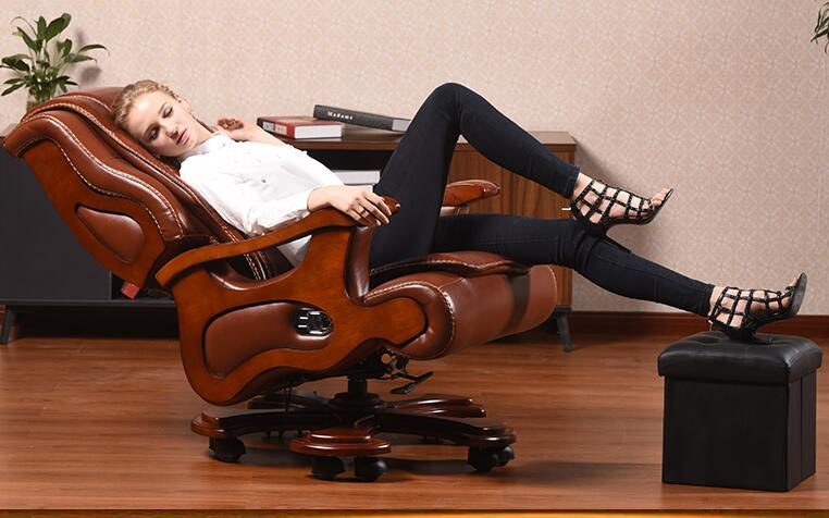 Office chair swivel chair. Real wood boss chair. Lift massage can lie in the computer chair.03 real leather boss chair can lie high grade massage computer chair home office chair real wood swivel chair 08