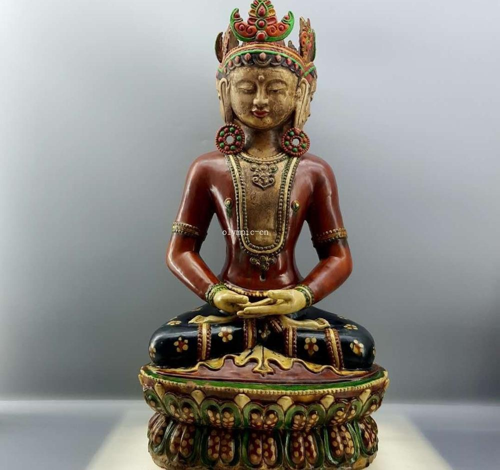 Cerámica esmaltada tricoloreada China de 35 tres caras Avalokitesvara