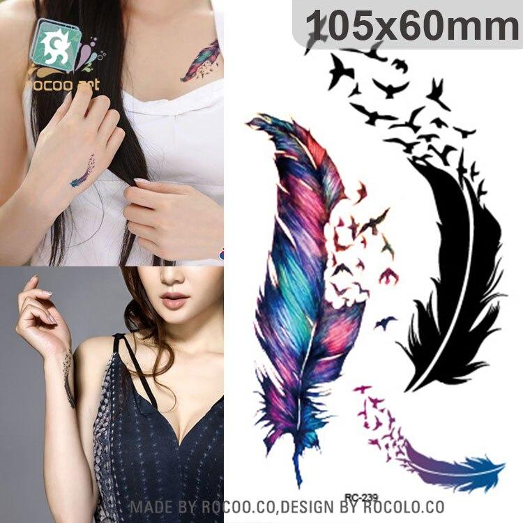 Rocooart, plumas coloridas, tatuaje temporal impermeable, pegatina, hermosas alas, tatuaje, tatuaje falso, tatuaje para arte corporal