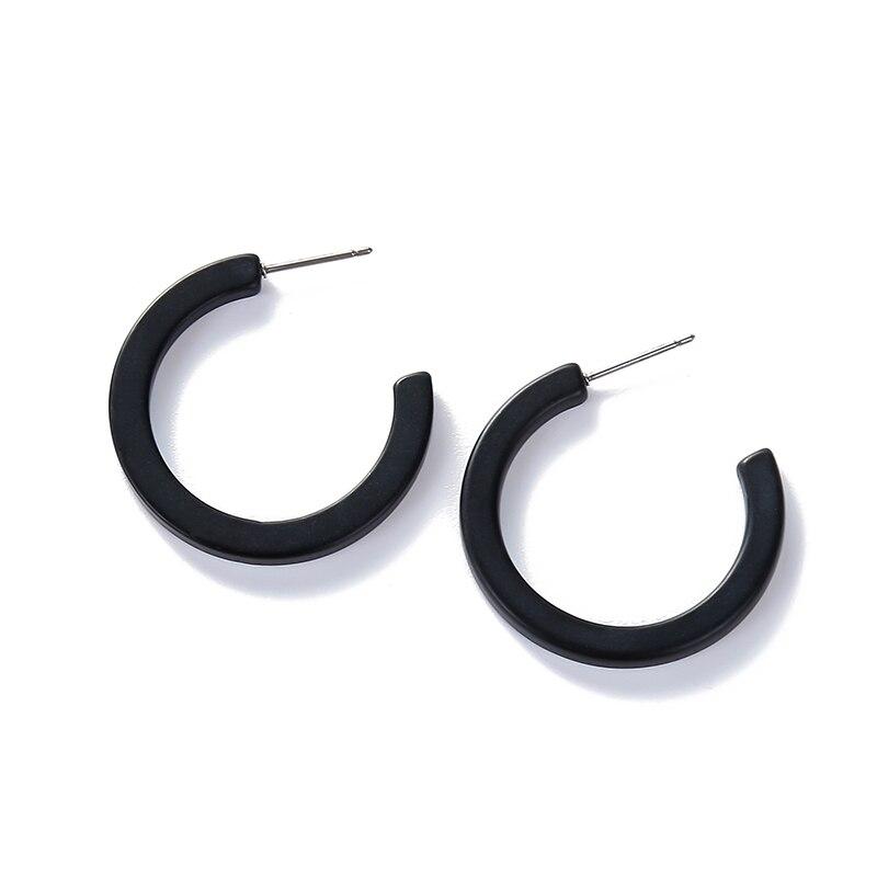 Pendientes clásicos de resina acrílica negra para mujer, Pendientes de declaración redondos/gancho,...