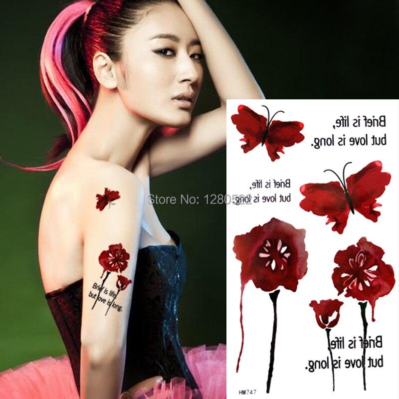 1 piezas nuevo rojo negro cartas Rosa mariposa sexo tatuaje temporal etiqueta engomada del tatuaje del arte de cuerpo Tatuagem Temporaria tatuaje de las mujeres de los hombres
