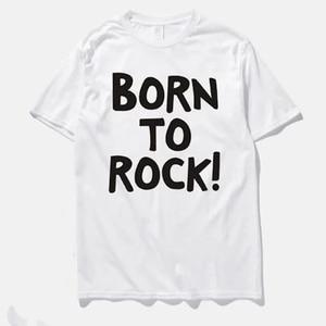 TShirt Plus Size Tops T Shirt Men Music Shirt Vintage Punk T-shirt Men Shirts Born To Rock Black Grey White Red Basic Streetwear