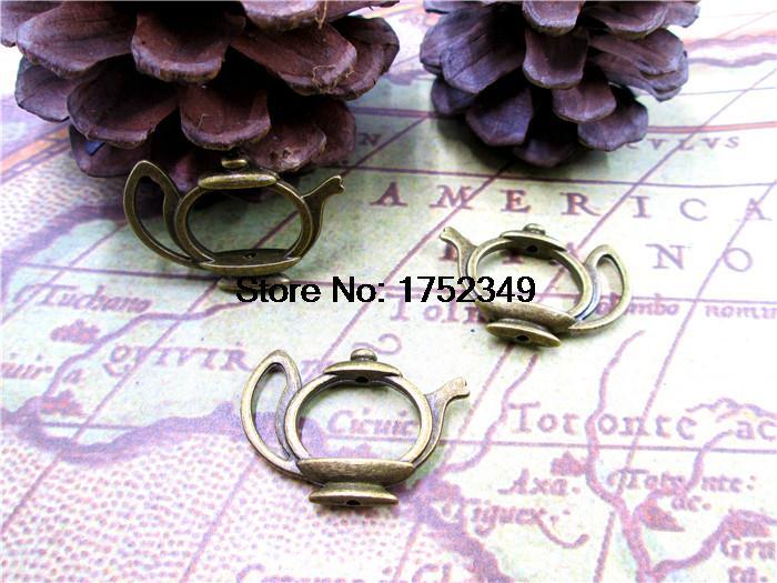 15PCs Teekanne Charme, Antike Bronze Schöne Tee Topf Spacer Stecker Link Caps Perlen Rahmen Charm Anhänger 19x23mm