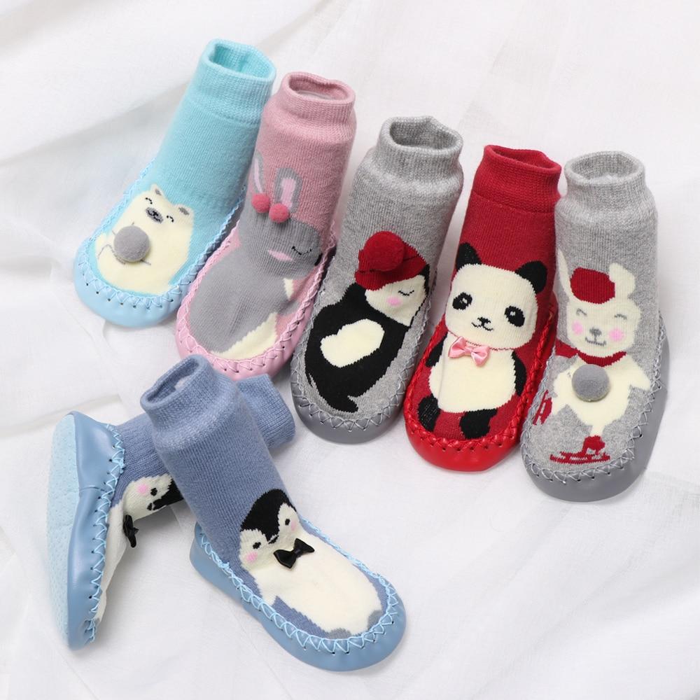 2020 Knitting Hand-made Cartoon Fleece Snow Boots For Baby Girl Boy Anti-silp Prewalker Booties Baby Shoes 0-24 Months
