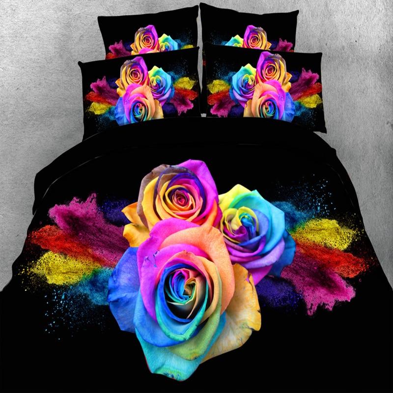 Juego de cama de boda de lujo con rosas coloridas en 3D, edredón negro individual completo tamaño Queen, funda de edredón 3/4 piezas 500TC, ropa de cama para adultos/niñas