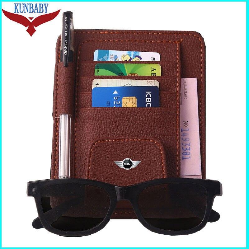 KUNBABY Top gafas de sol Geniune tarjeta Bill Clip de soporte de bolígrafo sol Visor gafas de sol cubierta de tarjeta de crédito para Mini Cooper Car Styling