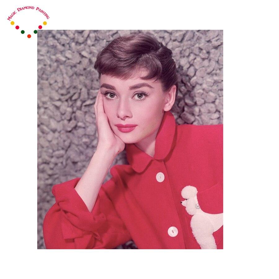 DIY square/round diamond painting Sexy goddess Audrey Hepburn cross Rhinestones embroidery plastic crafts Full diamond painting