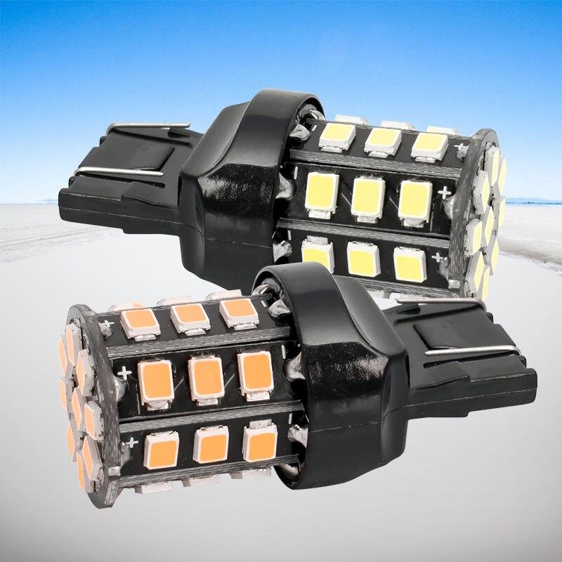 2 uds T20 7443 W21/5W 33 SMD 2835 LED rojo blanco bombilla trasera de coche 21/5W luces antiniebla automáticas intermitentes blanco rojo amarillo 12V
