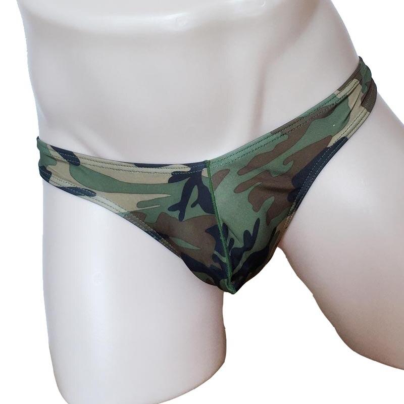 Ropa interior Sexy de tiro bajo de camuflaje militar con tiras y Tanga para hombre