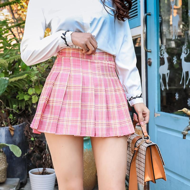 Women Skirt Fashion Mini Pleated Skirt Casual Loose Plaid Skirt 2020 New Korean Style A-Line Skirt High Waist kawaii sweet skirt