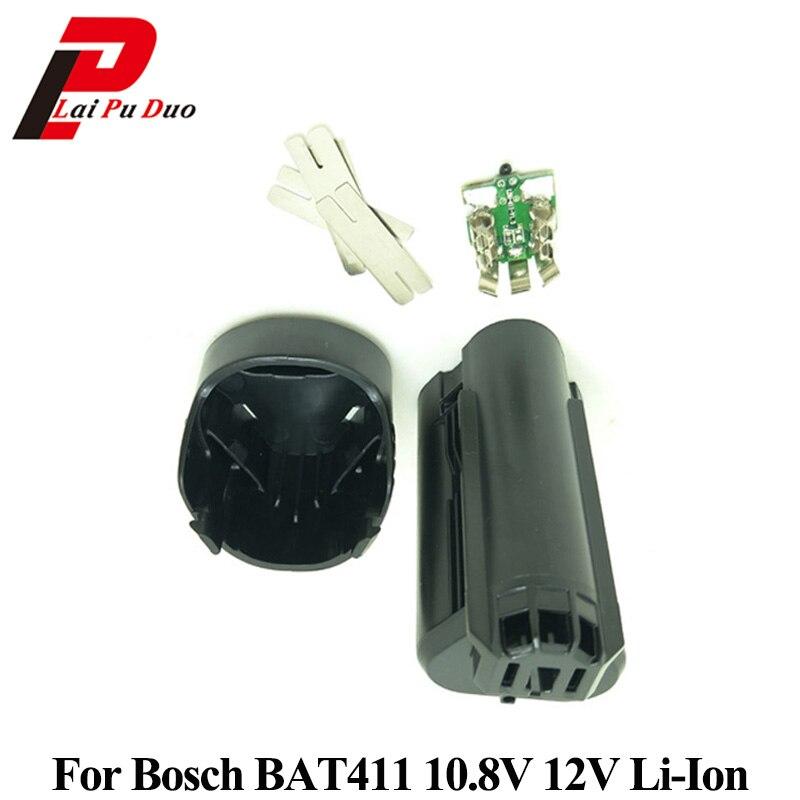 Carcasa de plástico para batería Bosch 10,8 V 12V BAT411 (sin pila) placa de circuito PCB BAT411 Li-ion