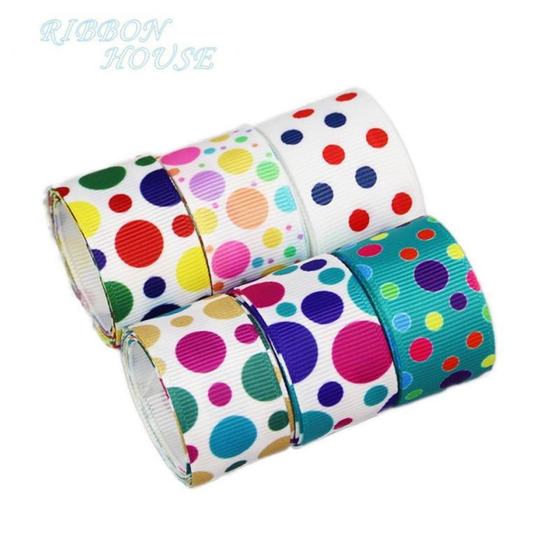 (6 colors mix) 1'' (25mm) printed cartoon polka dot grosgrain ribbon colored gift wrap ribbon decoration ribbons