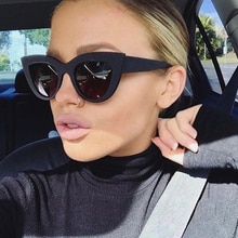 WISH CLUB New Sunglasses Women Cat Eye Retro Thick Frame Brand Designer Eyewear Fashiong Mirror Lens Ladies Sun Glasses