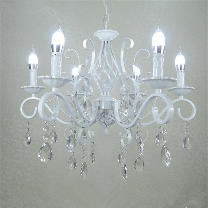 Винтажная кованая хрустальная люстра E14 Свеча осветительная арматура Ретро белая металлическая Хрустальная потолочная лампа