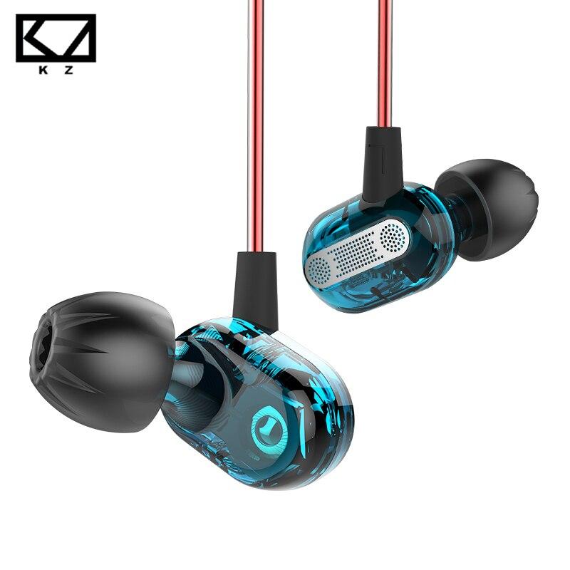 KZ ZSE dinámica especial controlador Dual auricular en cascos Gaming de monitores de auriculares de música de alta fidelidad deportes azul auriculares