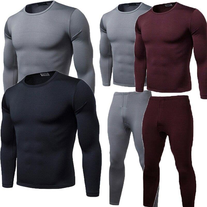 Conjunto de ropa interior térmica de invierno para hombre y mujer, ropa interior de terciopelo, conjunto de Pijama largo de 2 uds de talla grande L-2XL