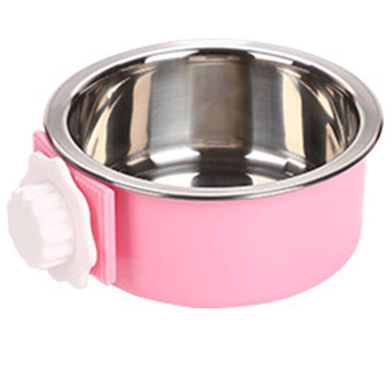 Jaula colgante de acero inoxidable para mascotas, tazón para perros, tazón para comida y agua para gatos y pájaros, alimentador para cachorros, tamaño S L, rosa, azul y verde